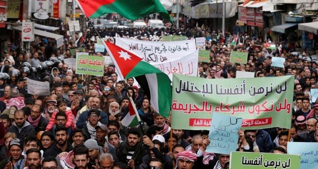 من المسيرة المنددة باتفاقية الغاز مع إسرائيل رويترز