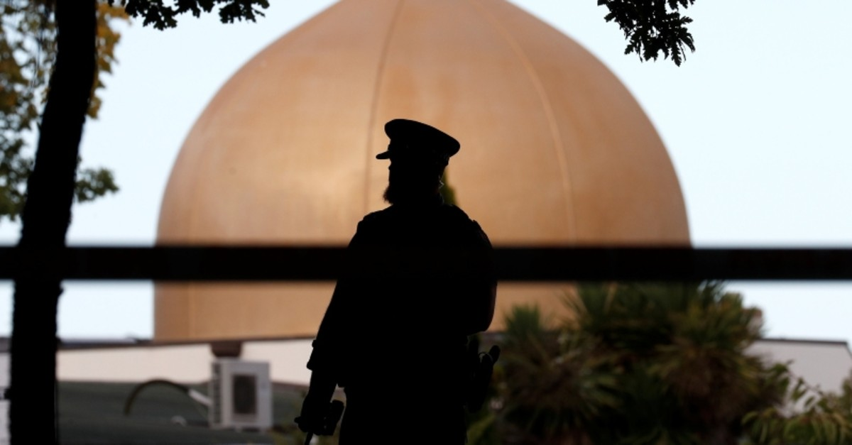 A police officer is pictured outside Masjid Al Noor mosque in Christchurch, New Zealand, March 17, 2019 (Reuters Photo)