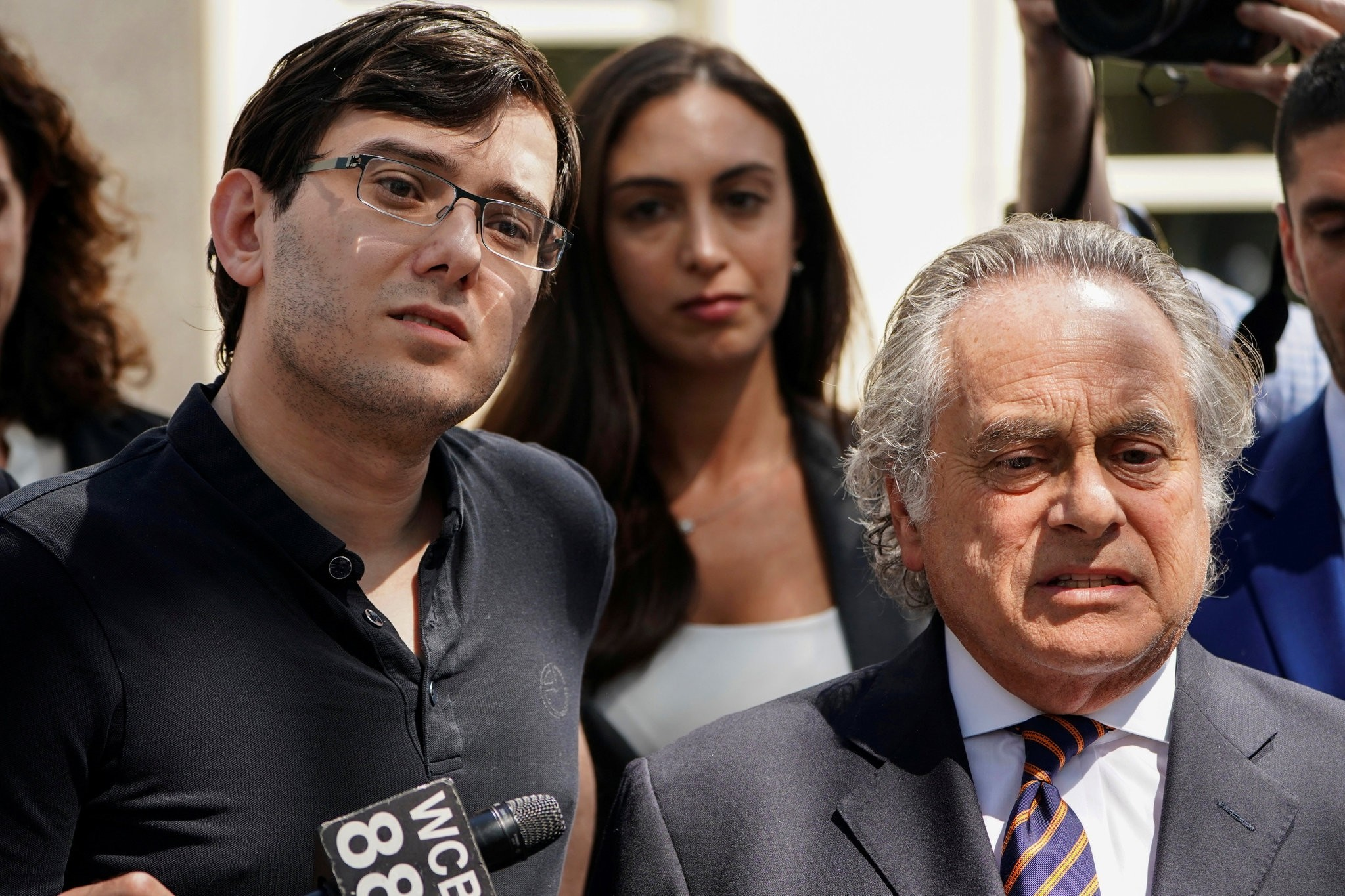 Former drug company executive Martin Shkreli stands with his attorney Benjamin Brafman after exiting U.S. District Court upon being convicted of securities fraud. (REUTERS Photo)