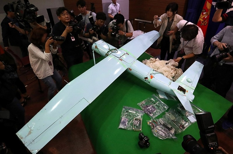 A small aircraft, which South Korea's Military says is a drone from North Korea, is seen at the Defense Ministry in Seoul, South Korea, June 21, 2017. (Reuters Photo)