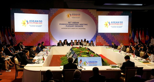 ASEAN Foreign Ministers take part in a meeting of the 50th Association of Southeast Asia Nations (ASEAN) Regional Forum in Manila, Philippines, Saturday, Aug. 5, 2017. (AP Photo)