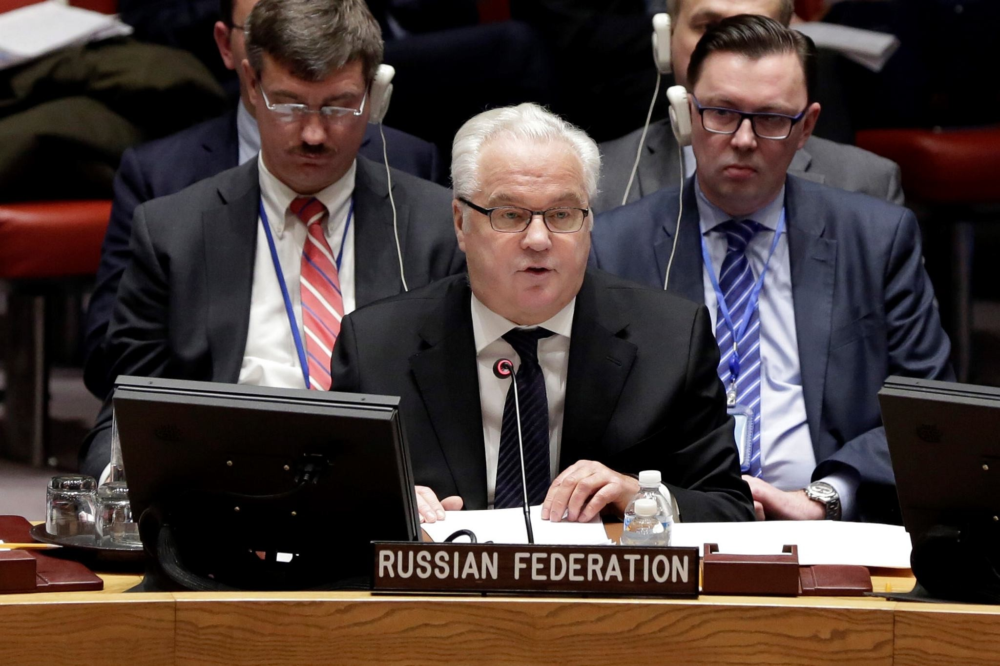 Russia's Ambassador to the U.N. Vitaly Churkin addresses a Security Council meeting at the United Nations, Thursday, Feb. 2, 2017. (AP Photo)