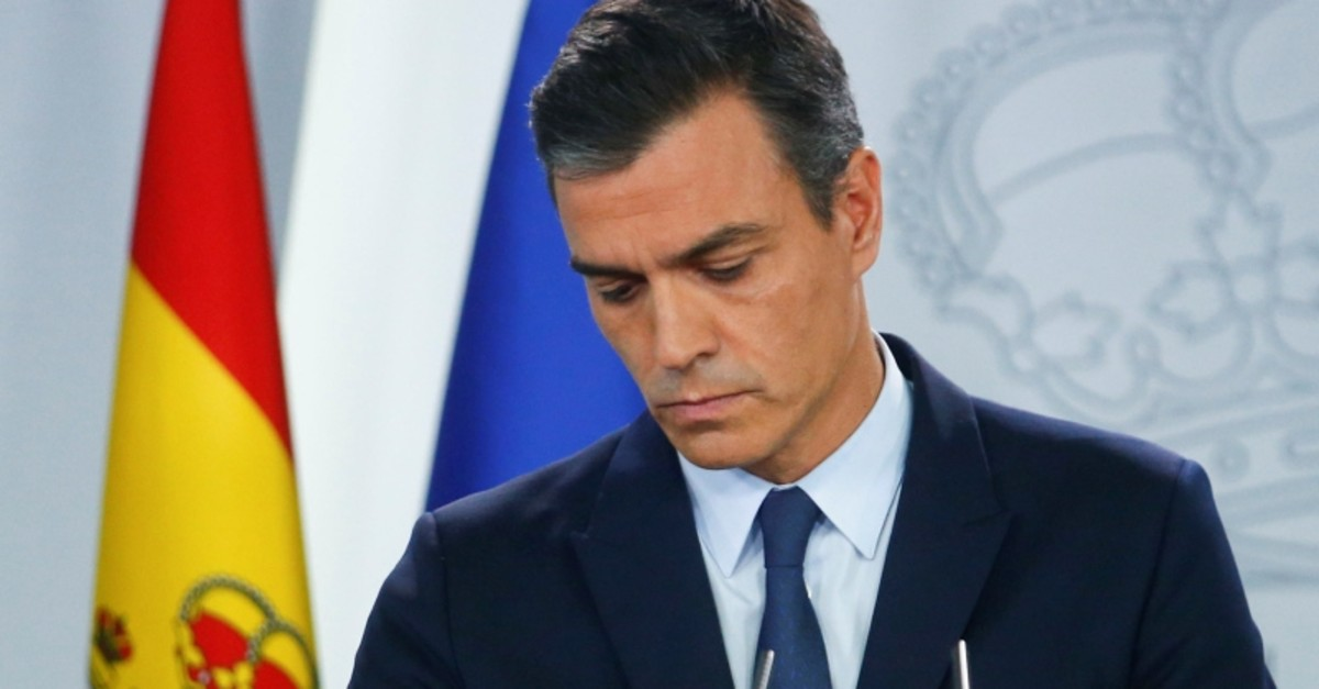 Spain's acting Prime Minister Pedro Sanchez holds a news conference at the Moncloa Palace after a meeting with King Felipe in Madrid, Spain, September 17, 2019. (Reuters Photo)