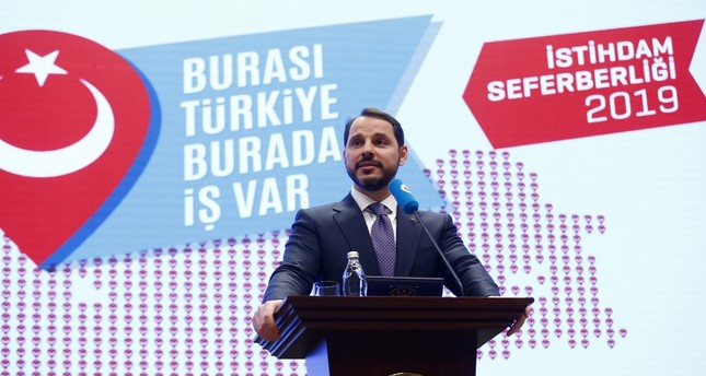 Treasury and Finance Minister Berat Albayrak speaks at the employment mobilization campaign meeting held at the premises of the Union of Chambers and Commodity Exchanges of Turkey in Ankara, Feb. 25, 2019.