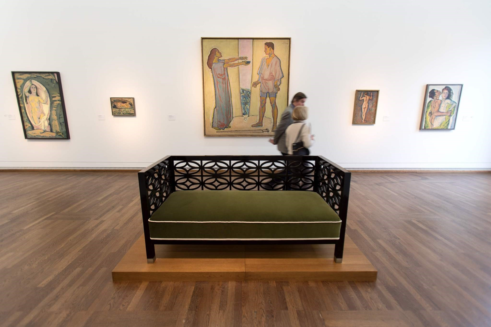 People visit a room dedicated to the work of Austrian artist Koloman Moser during the exhibition titled ,Vienna 1900!, devoted to the key figures of the Viennese Modernism.