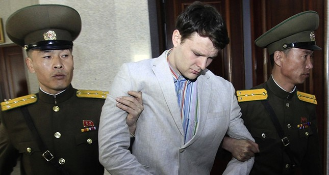 In this March 16, 2016, file photo, American student Otto Warmbier, center, is escorted at the Supreme Court in Pyongyang, North Korea. (AP Photo)