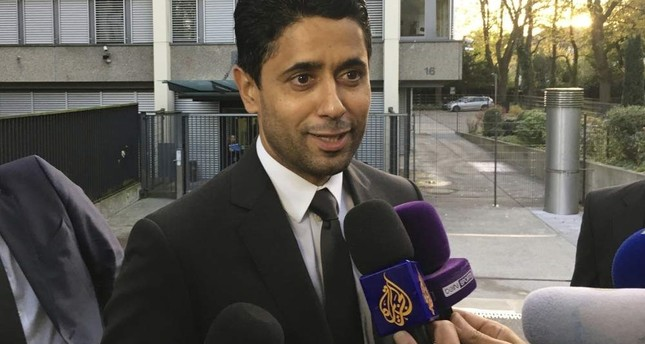 PSG president Nasser Al-Khelaifi speaks to the media after a meeting with Swiss prosecutors in Bern, Switzerland, Oct. 25, 2017. AP Photo