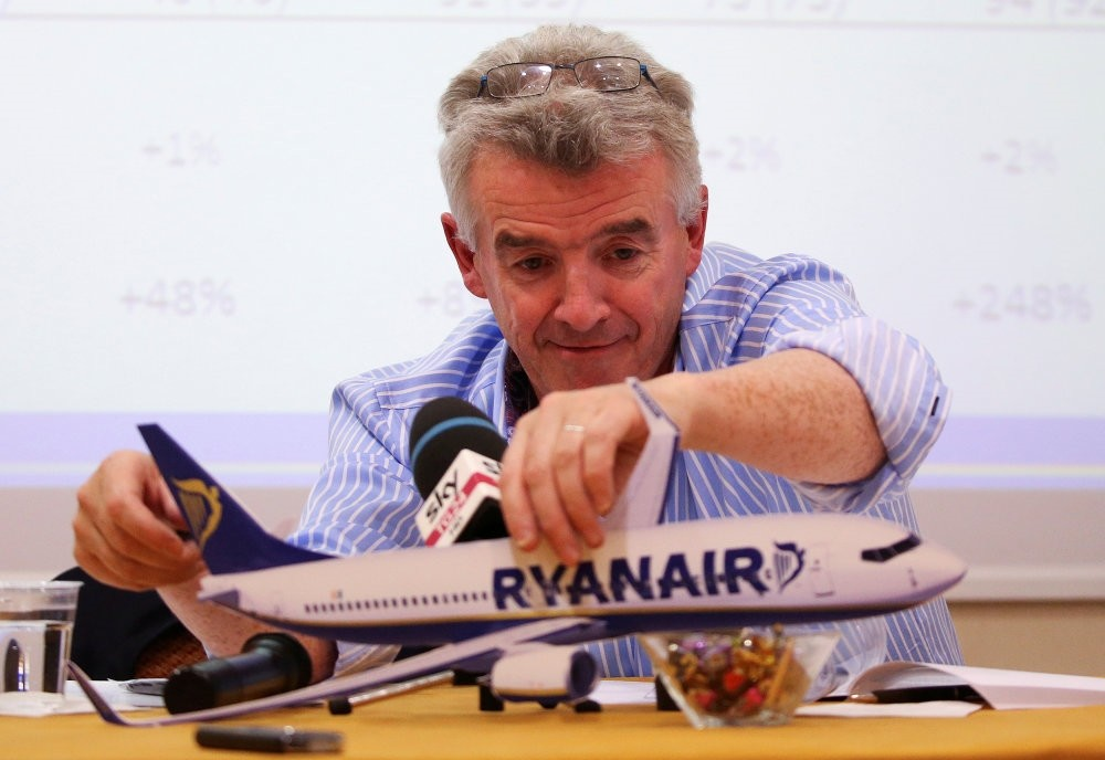 Ryanair CEO Michael O'Leary attends a news conference in Rome.