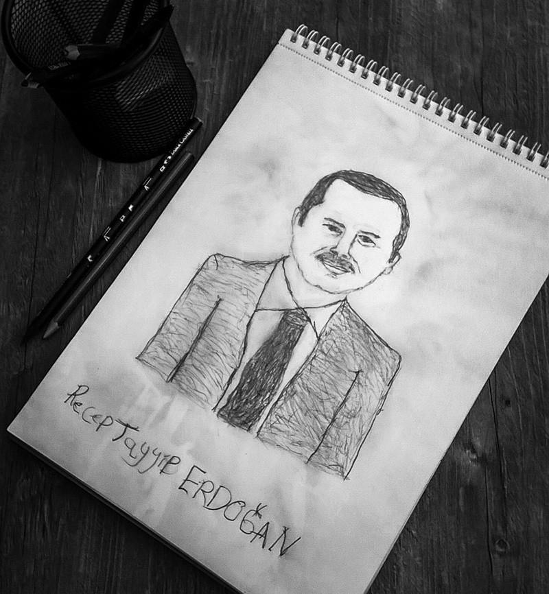 Yazıcı's charcoal drawing of Erdoğan
