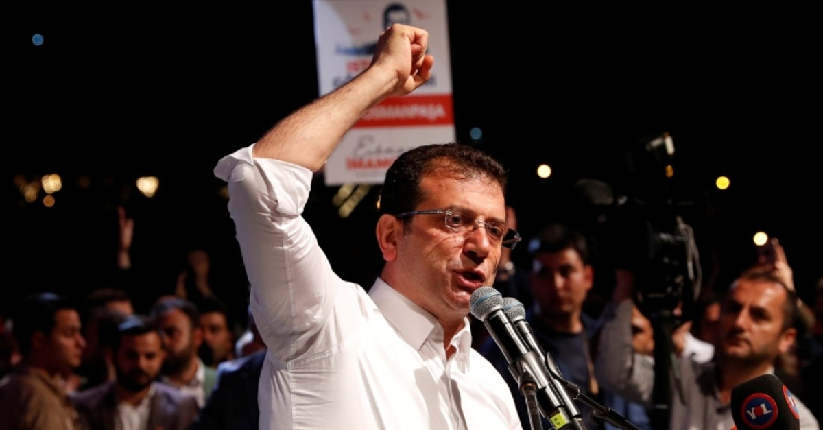 Ekrem Imamou011flu of the main opposition CHP, who was elected mayor after the March 31 elections, addresses his supporters after the Supreme Election Council decided to re-run the mayoral election, in Istanbul, Turkey, May 6, 2019. (Reuters Photo)