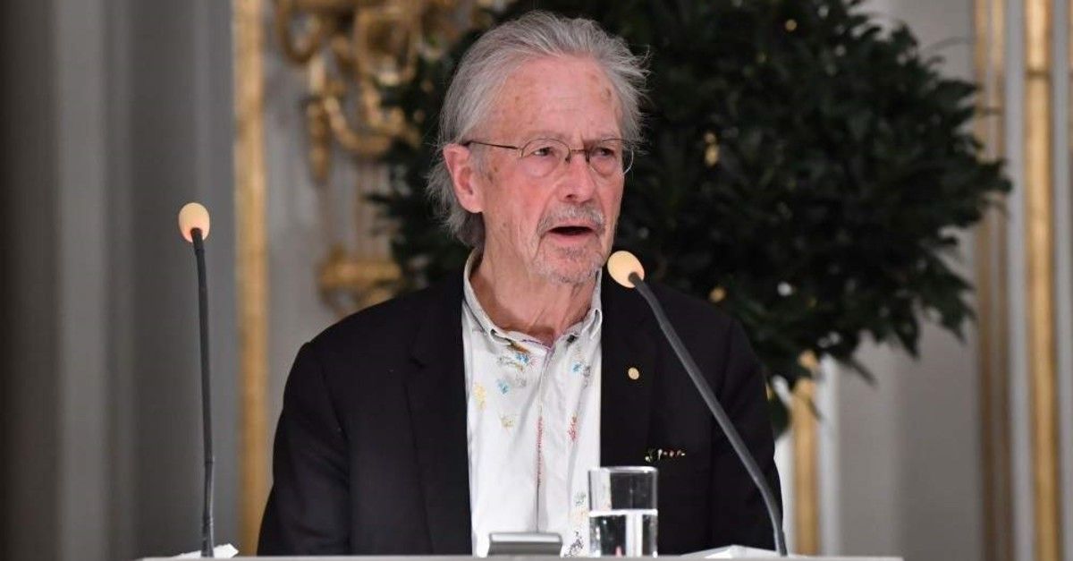 Austrian writer Peter Handke speaks during his Nobel lecture at the Swedish Academy, Stockholm, Dec. 7, 2019. (AFP Photo)