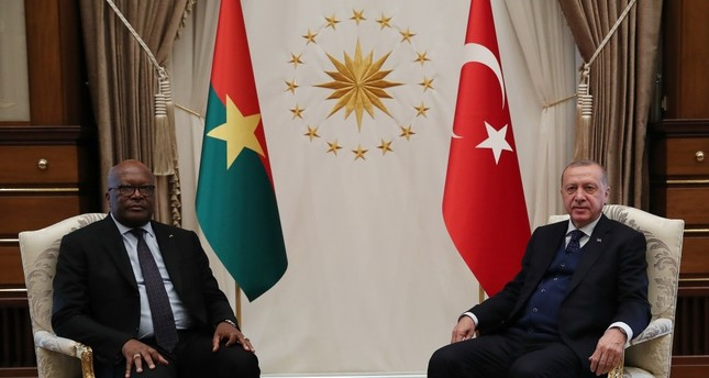 President Recep Tayyip Erdoğan (right) and Burkino Faso's President Roch Marc Christian Kaboré held a meeting and discussed ways to develop bilateral ties at the Presidential Complex, Ankara, April 11, 2019.