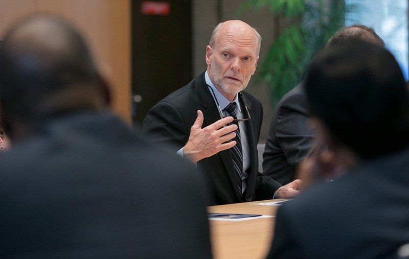 Ken Isaacs, U.S. candidate for Director general of the United Nations' International Organization for Migration (IOM) is pictured in this photo released by U.S. Mission Geneva, in Geneva, Switzerland, June 28, 2018. (Reuters Photo)