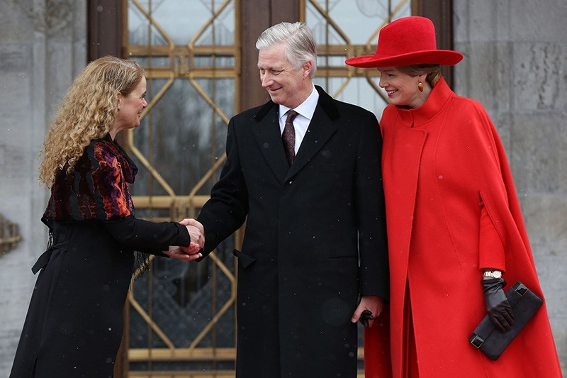 King Philippe and Queen Mathilde of Belgium are welcomed at Rideau Hall by Canadian Governor General Julie Payette in Ottawa, Ontario, on March 12, 2018. (AFP Photo)