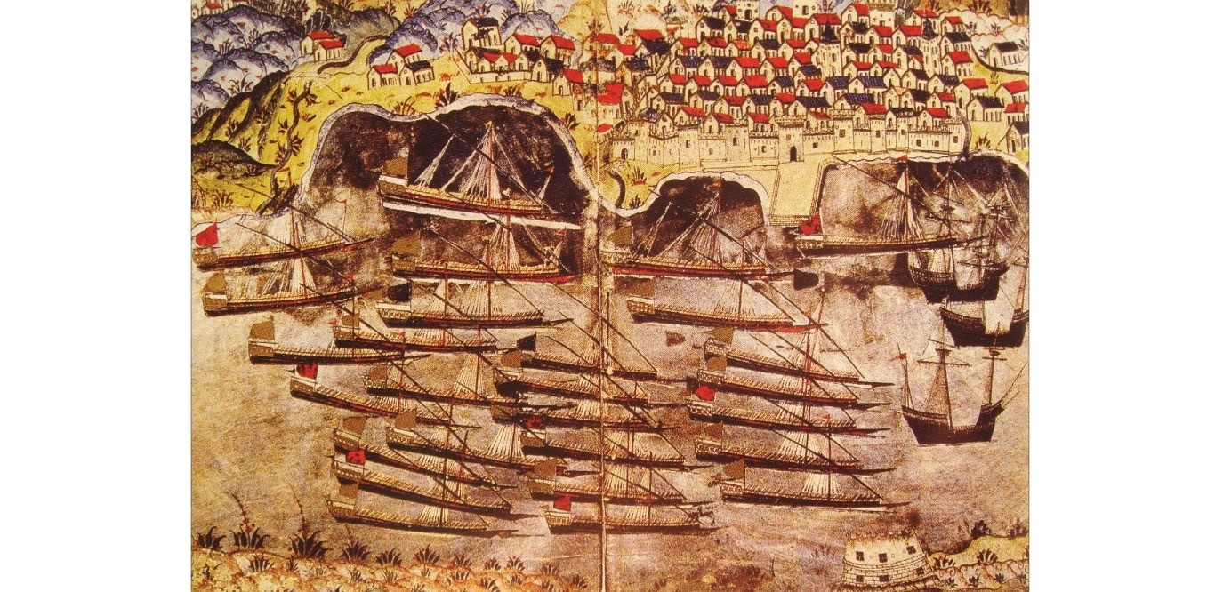 A painting by an anonymous artist depicting Ottoman wintering in Toulon. As a part of Franco u2013 Ottoman alliance in the 16th century,the Ottoman fleet spent the winter of 1543u201344 in Toulon to prevent Spain and Italy ally against the Kingdom of France.
