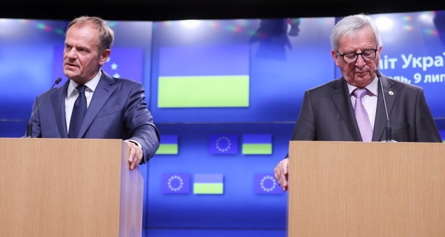 European Union Council President Donald Tusk (L) and European commission President Jean-Claude Juncker (R) during a news conference in Brussels, Belgium, 09 July 2018. (EPA Photo)