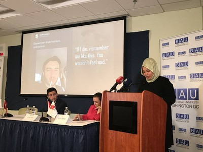 Daily Sabah's Economy Editor Şeyma Eraz delivers her presentation in Washington, D.C.
