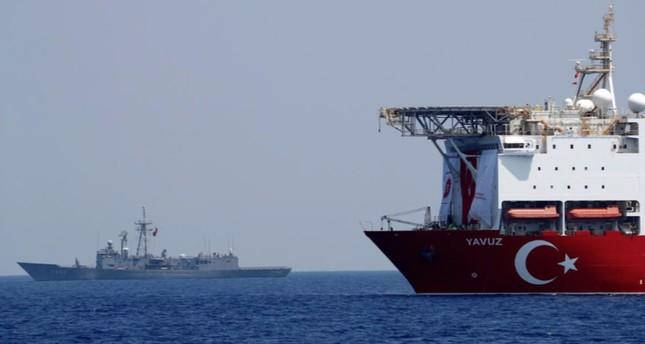 Drilling vessel Yavuz is escorted by Turkish Navy Frigate TCG Gemlik F-492 in the Eastern Mediterranean off Cyprus, Aug. 6, 2019.