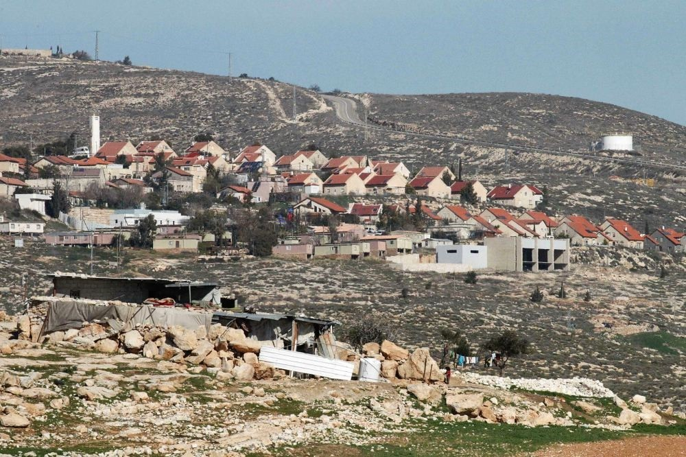 A general view of the Israeli settlement of Bani Hever, southwest of the Israeli occupied West Bank town of Hebron, surrounded by the Palestinians' lands of Bani Naaim village.