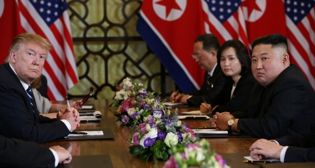North Korea's leader Kim Jong Un and U.S. President Donald Trump look on at the extended bilateral meeting in the Metropole hotel during the second North Korea-U.S. summit in Hanoi, Vietnam February 28, 2019. (Reuters Photo)