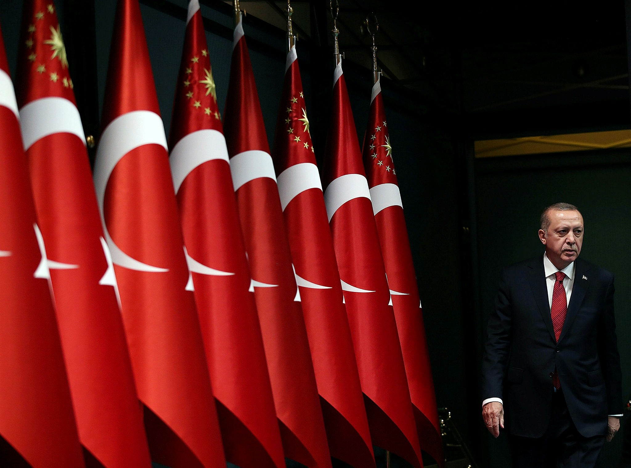 President Recep Tayyip Erdou011fan arrives at a news conference at the Presidential Complex in Ankara, Turkey, April 18, 2018. (Photo courtesy of Turkish Presidency)