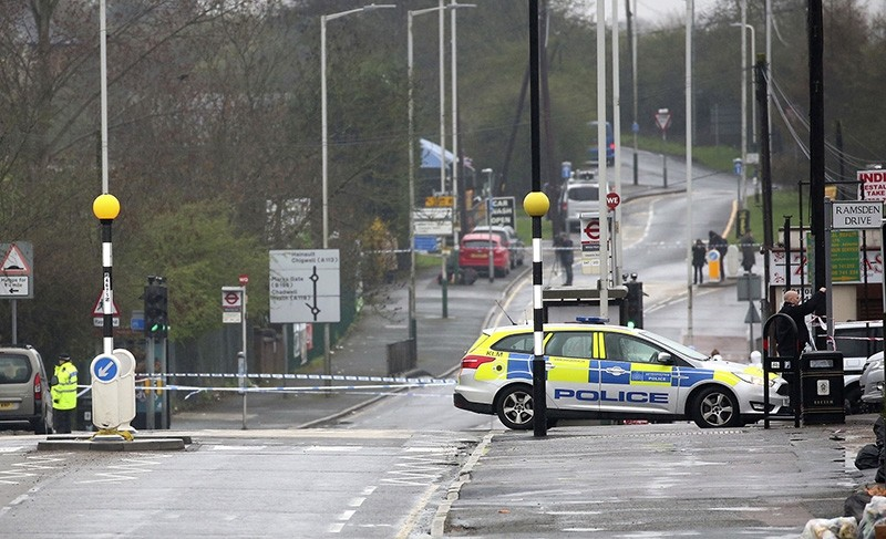 Police cordon off the scene after a man was shot dead by police in Romford, east London, Monday April 9, 2018 (AP Photo)