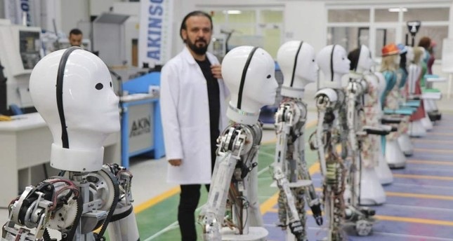 Robots in the production phase at the Ak?nsoft factory, Turkey's first robot manufacturer. (?HA Photo)