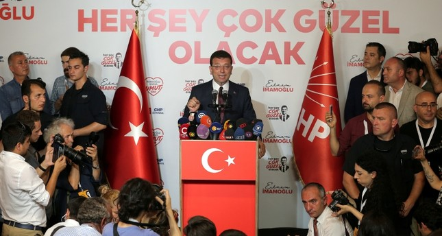 Republican People's Party's Ekrem Imamoğlu makes statements at CHP offices in Istanbul, Sunday, June 23, 2019. (Reuters Photo)