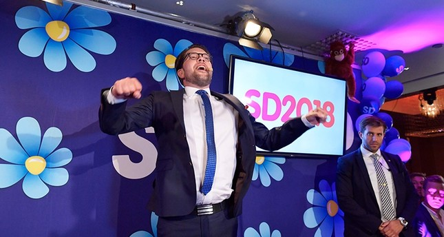 Jimmie Akesson of the Sweden Democrats speaks at the election party at the Kristallen restaurant in central Stockholm on Sept. 9, 2018. (AFP Photo)