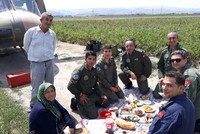 Villagers offer lunch for military helicopter crew after emergency landing in western Turkey