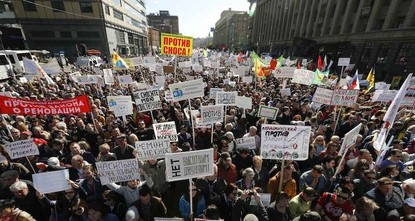 pThousands of Moscow residents joined a rally in the center of the Russian capital Sunday to protest against government plans to resettle millions of citizens from shoddy Soviet-era apartment...