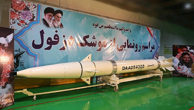 This handout photo provided by Iran's Revolutionary Guard Corps (IRGC) official website via SEPAH News on February 7, 2019 shows the new ,Dezful, missile during its inauguration ceremony at an undisclosed location (AFP Photo)