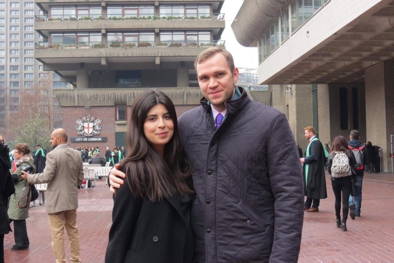 An undated handout photo made available by Daniela Tejada showing Durham University PhD student Matthew Hedges and his wife Daniela Tejada in London, Britain. (EPA Photo)