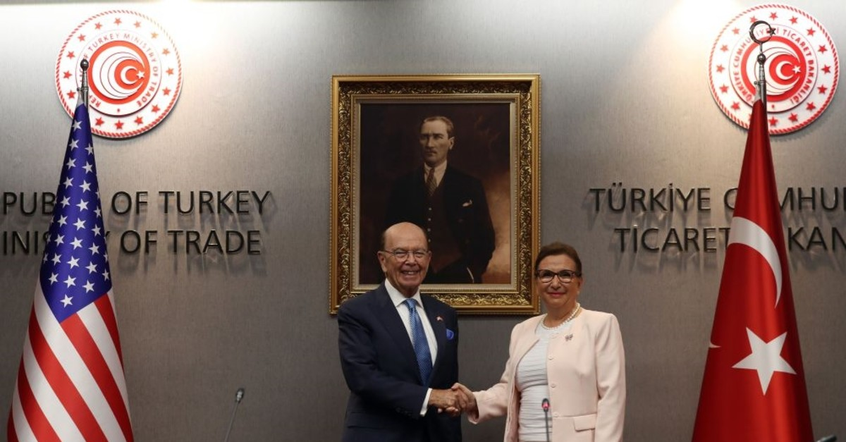 Trade Minister Ruhsar Pekcan (R) shakes hands with US Secretary of Commerce Wilbur Ross following their meeting in Ankara, Sept. 10, 2019.