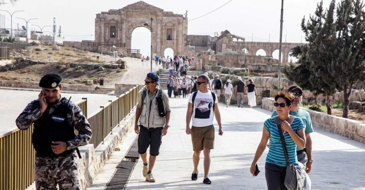 This picture taken on November 6, 2019 shows a view of the scene where several people, including tourists along with a Jordanian tour guide and a security officer, were wounded in a knife attack in the site of Jerash, Jordan. (AFP Photo)