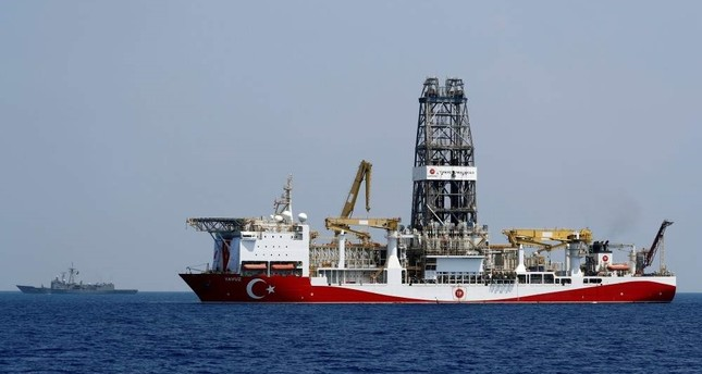 Turkish drilling vessel Yavuz is escorted by Turkish Navy frigate TCG Gemlik F-492 in the eastern Mediterranean Sea off Cyprus, Aug. 6, 2019. REUTERS Photo