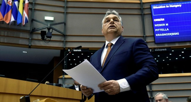 Hungary's Prime Minister Viktor Orban speaks during a plenary session at the European Parliament (EP) in Brussels, Belgium, April 26.