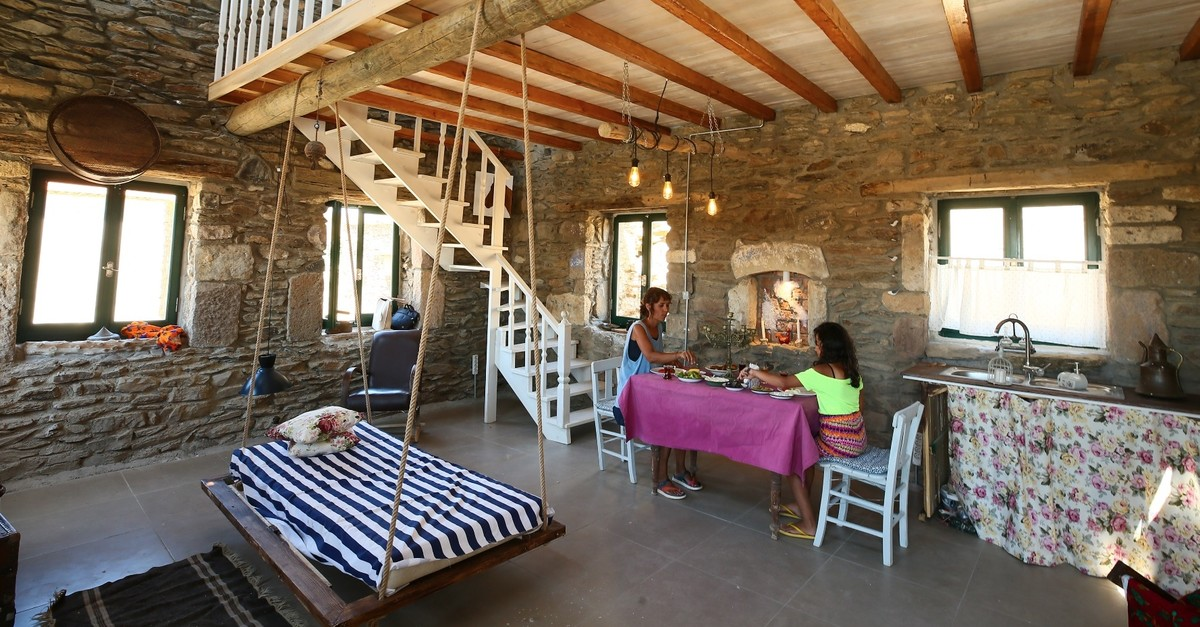 The stone houses of Aegean villages offer a break from the chaos of urban life.