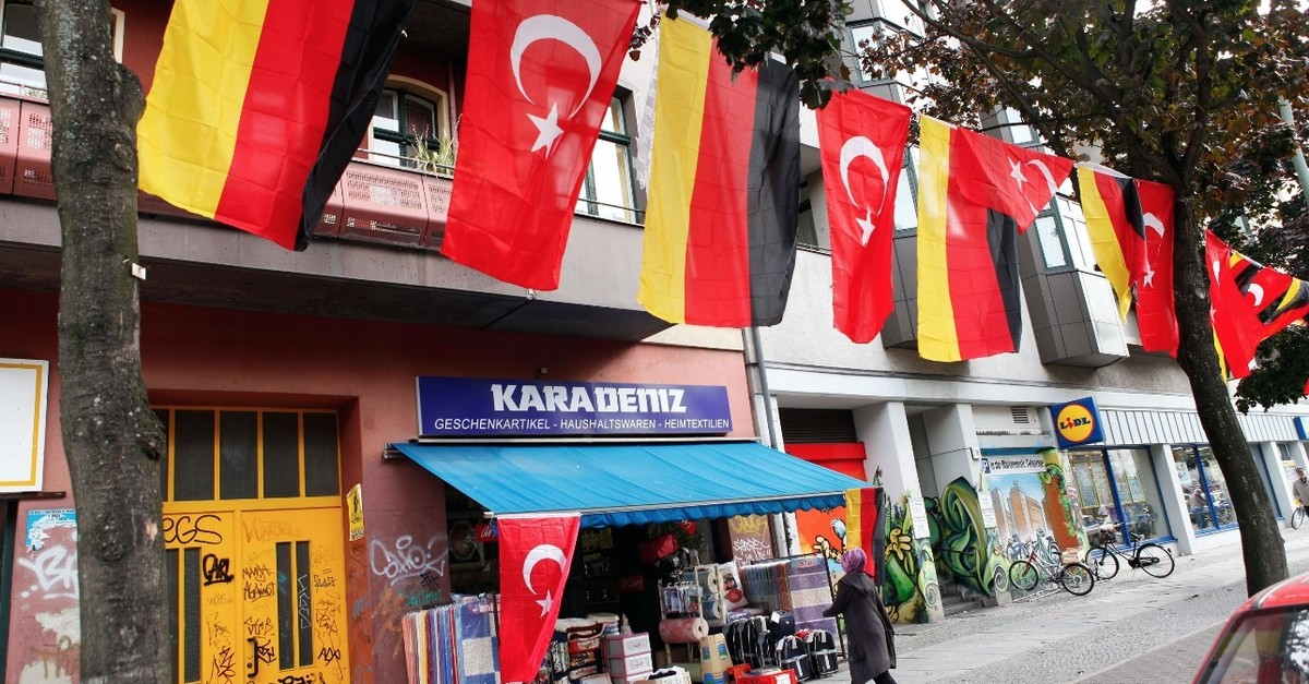 A shopkeeper in Kreuzberg, a district with a large Turkish population, has hung German and Turkish flags outside his shop in Berlin, Oct. 7, 2017.