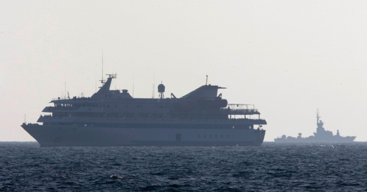 In this Monday, May 31, 2010 file photo, the Mavi Marmara ship, the lead boat of a flotilla headed to the Gaza Strip which was stormed by Israeli naval commandos in a predawn confrontation, sails into the port of Ashdod, Israel. (AP Photo)