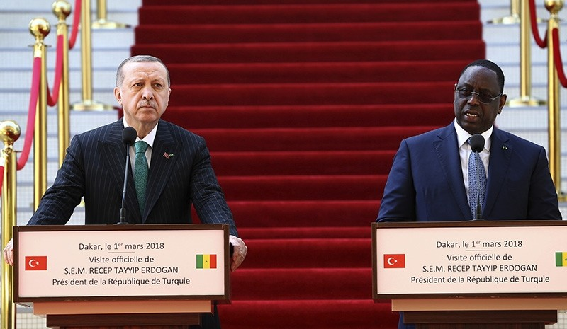 President Recep Tayyip Erdou011fan, left, and Senegal's President Macky Sall speak during a joint news conference after talks in Dakar (AP Photo)
