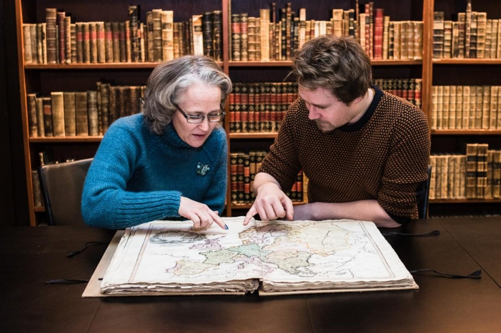 Reference librarian Anders Kvernberg (right) discovered the Cedid in the libraryu2019s storage archives.