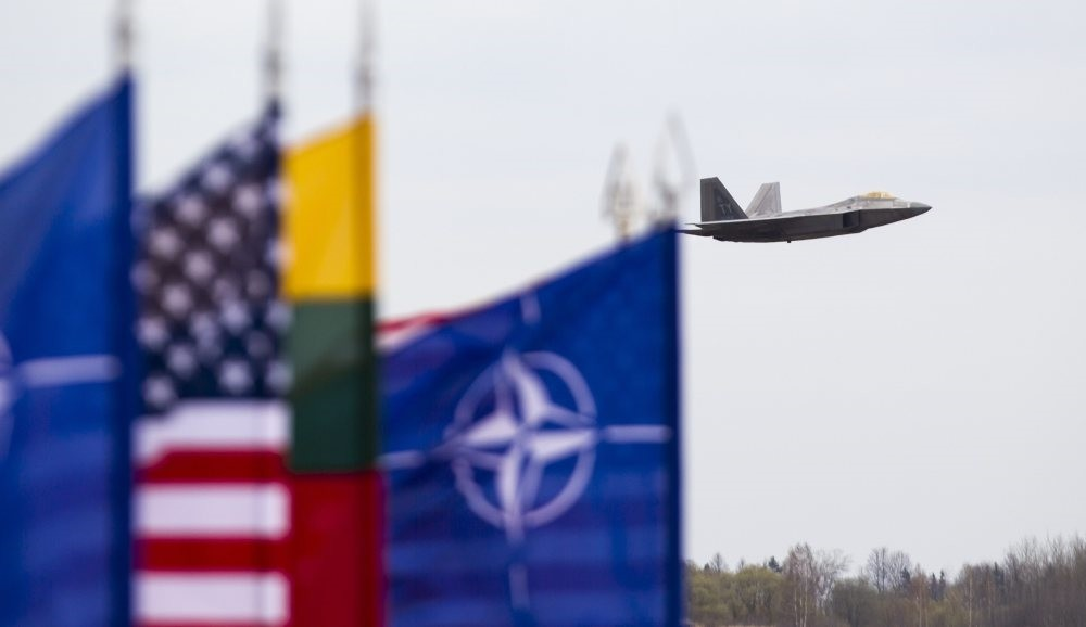 Two U.S. F-22 fighters arrived from their base in Britain as a show of force to help Baltic members protect their borders with Russia, April 27, 2016.