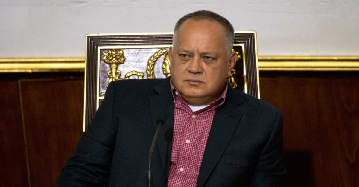 In this April 2, 2019 file photo, Diosdado Cabello, Venezuela's socialist party boss and president of the National Constituent Assembly attends a session in Caracas, Venezuela. (AP Photo)
