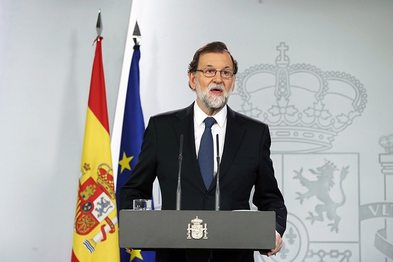 Spanish Prime Minister Mariano Rajoy gives a press statement on the Catalonia independence referendum '1-O Referendum' in Madrid, Spain, Oct. 1, 2017. (EPA Photo)