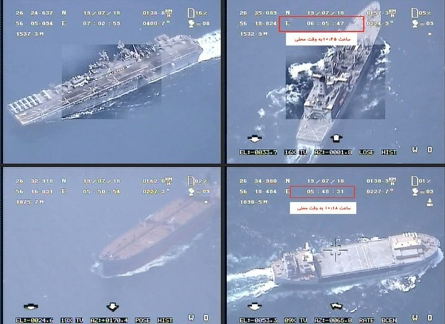 This combination of image grabs is created from a video broadcast by Iran's Islamic Revolutionary Guard Corps (IRGC) on July 19, 2019 (AFP Photo)