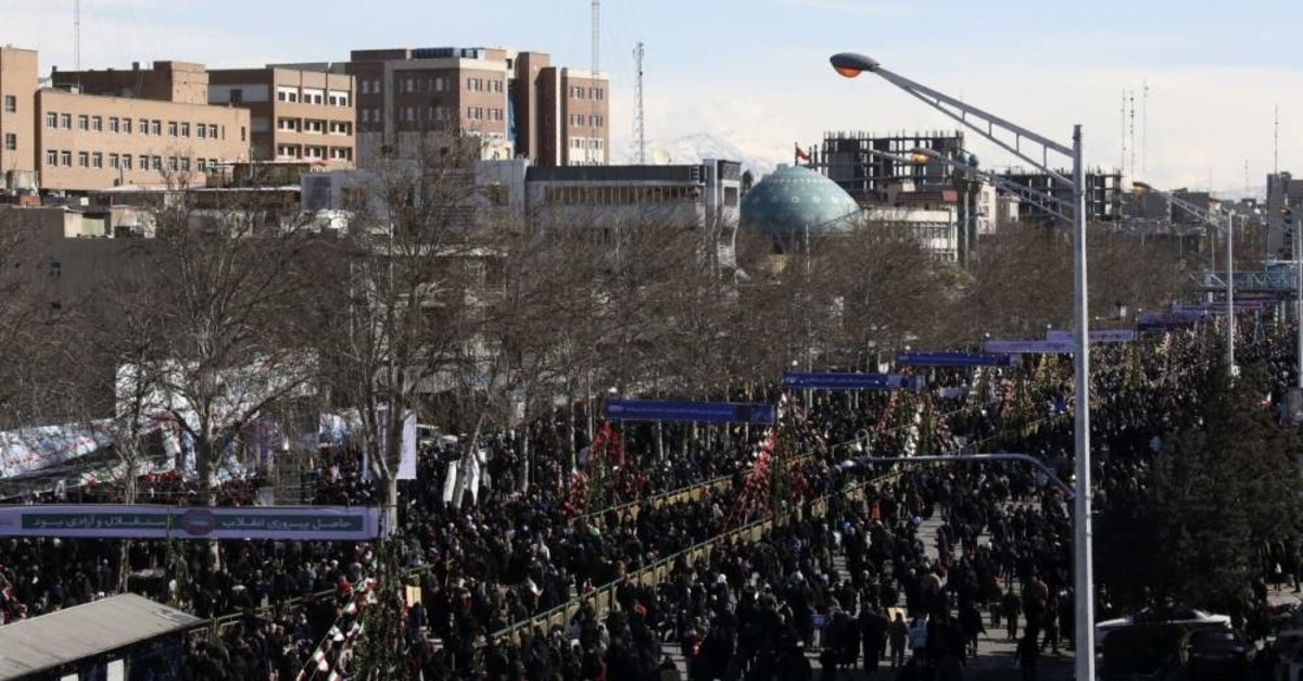 Iranians attend an annual rally at Azadi (Freedom) Street, celebrating the 41st anniversary of Iran's revolution, Tehran, Iran, Feb. 11, 2020. (AP Photo)