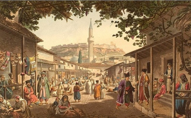A painting portraying a market place in former Ottoman capital Bursa. During the Seljuk and Ottoman period, trade was an important part of daily life and derbend guards were first to introduce insurance from Anatolia to the rest of the world.