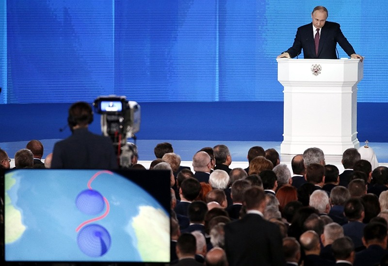 Russian President Vladimir Putin delivers his annual address to the Federal Assembly at the Manezh Central Exhibition Hall in Moscow, Russia, March 1, 2018. (EPA Photo)