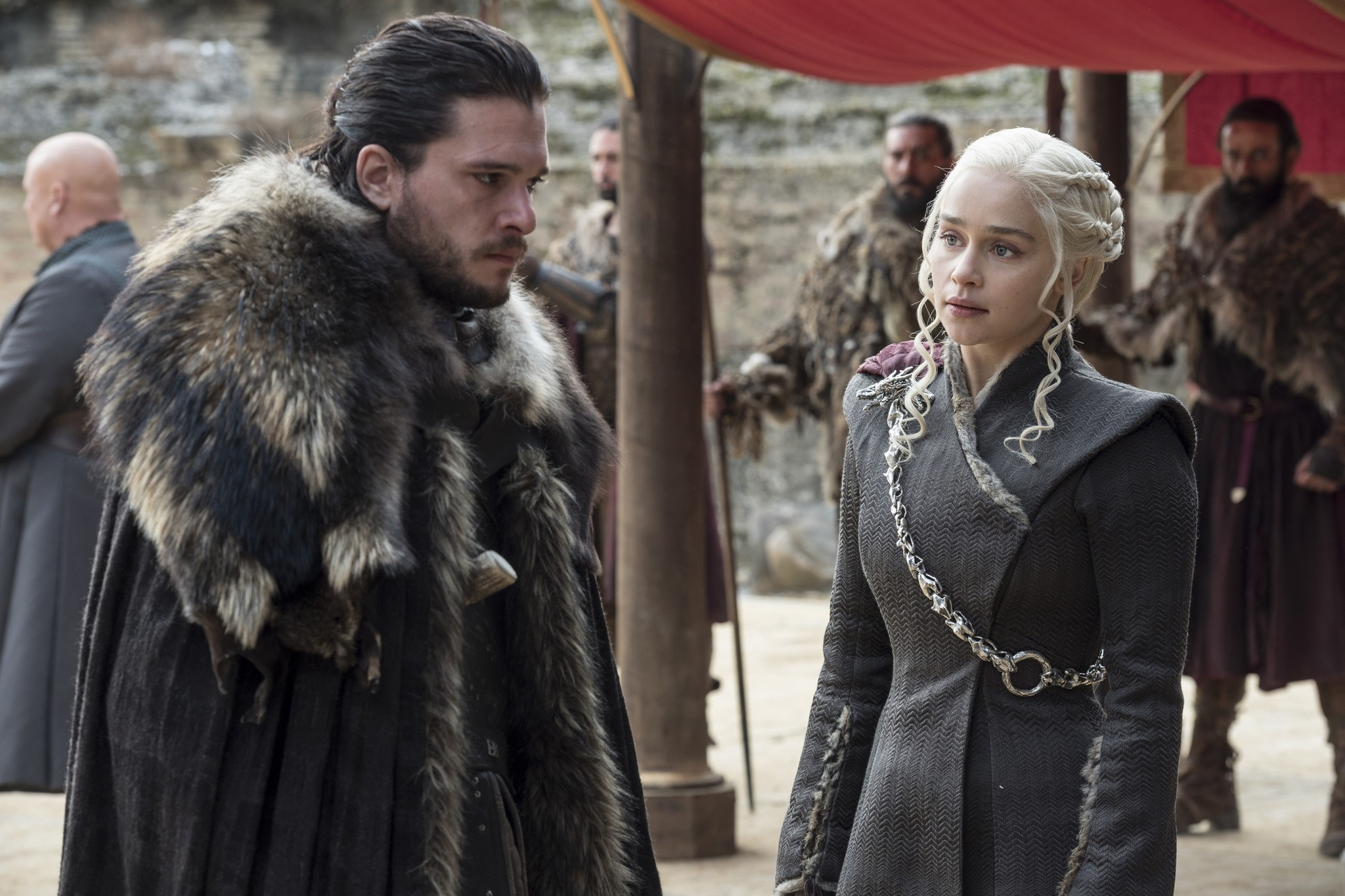 This image released by HBO shows Kit Harington, left, and Emilia Clarke on the season finale of ,Game of Thrones. (AP Photo)
